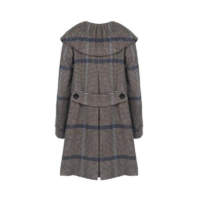 check pattern cape detail coat